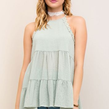 Crinkle Tiered Crochet Trim Tank