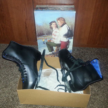 Vintage 70s New Old Stock American Rocket Figure Ice Skates - Original Box - Never Used - Size 7