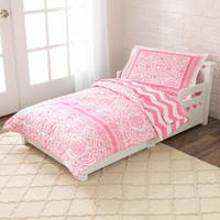 Lace and Chevron Toddler Bedding - Pink