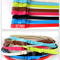Candy Color Cute PU Skinny Thin Bowknot Woman'sWaistband Leather Belt