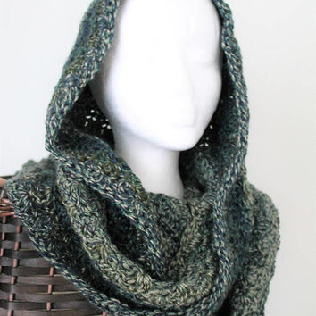 Hooded Scarf, Crochet, Women or Teen, Blue Green Tweed, Shell Patterned Hooded Scarf, Snood