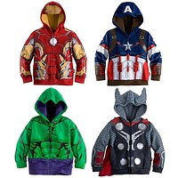 Kids Boys Coat Jacket Superhero Avengers Hulk Ironman Captain America Thor Cosplay Hoodie Long Sleeves Spring Autumn