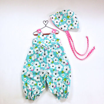 6 to 9 month girls jumpsuit blue romper baby romper infant outfit with baby bonnet infant sun hat summer outfit sun bonnet sunbonnet daisies