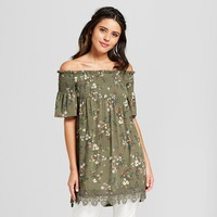 Women's Off the Shoulder Smocked Top Babydoll Dress - Xhilaration™