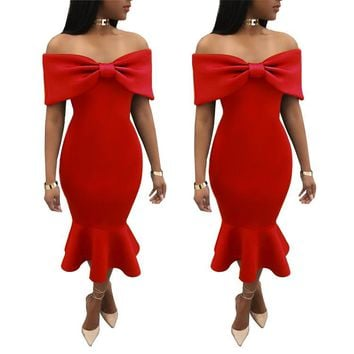 Big Bow Strapless Party Dress