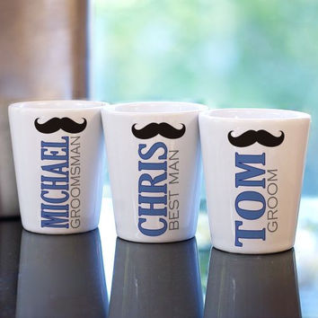 Personalized Mustache Wedding Party Shot Gl