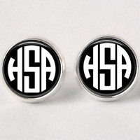 Monogram Stud Earrings  201  Black & white by neworleansbeanieco