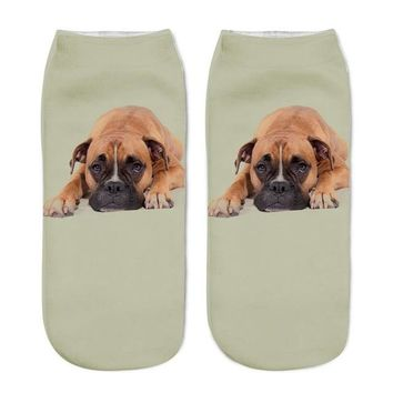 Pug Dog Print Ankle Socks Funny Crazy Cool Novelty Cute Fun Funky Colorful