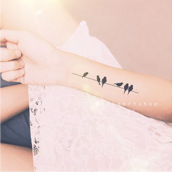2pcs birds on wire tattoo - InknArt Temporary Tattoo - wrist quote tattoo body sticker fake tattoo wedding tattoo small tattoo