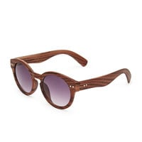 Faux Wood Round Sunglasses