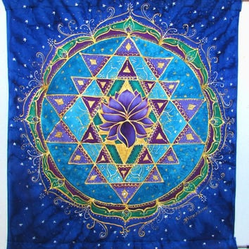 "silk wall hanging, ""Gateway to the Universe"", meditation, spiritual, sacred geometry,lotus, mandala, healing art, yoga art,"