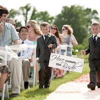 Ring Bearer Sign Here Comes the Bride Sign The Bride Banner Wood Wedding Sign