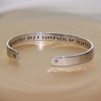 Bridesmaids / Maid of Honor / Friend Gift - A brunette and a blonde... Custom Hand Stamped Aluminum Cuff Bracelet by Korena Loves