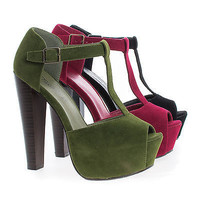 Brina31 By Breckelle's, Peep Toe Buckle T-Strap Platform High Stacked Heels