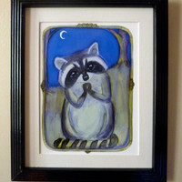 "Raccoon Art, Woodland Creatures, Victorian Folktale Inspired Animal Portrait Illustration, ""Reginald Raccoon and the Moon"". Art Wall Print"