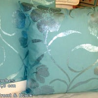 "Hand Painted Deluxe Floral aqua green 20""X20"" Pillow Cover"