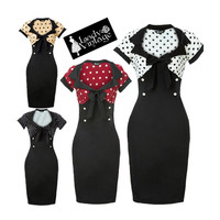 NEW ARRIVAL 4 Colors Polkadot Bodycon Made-to-Order Retro 50s Pinup Girl Rockabilly Style Dress - Brides & Bridesmaids - Wedding, Bridal, Prom, Formal Gown