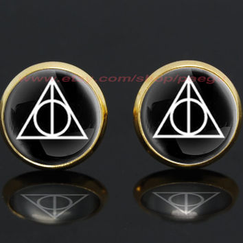 Deathly Hallows Harry Potter gold plated stud post earrings,girlfriend gift Bridesmaid Gift