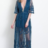 Gemma Lace Maxi Dress - Teal