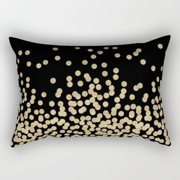 Gold glitter dots scattered on black background Rectangular Pillow by CharlotteWinter