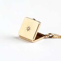 Antique 10k Rosy Yellow Gold Diamond Victorian Locket Necklace - 1900s Edwardian Star Incised Fob Charm Monogrammed MWG Fine Photo Jewelry