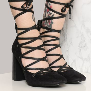 SPELLCRAFT LACE-UP HEEL - BLACK