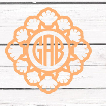 Solid Color Seashell Framed Monogrammed Vinyl Decal For Yeti Tumblers, Cars, and Tech Devices