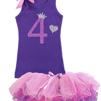 4th Birthday Outfit, 4th Birthday Party, Purple Tutu Set, Girls Birthday Tutu, 4th Birthday Princess Outfit, Personalized Shirt