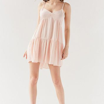 UO Harper Tiered Lace-Up Babydoll Dress | Urban Outfitters