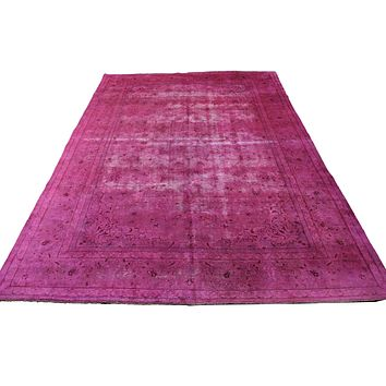 9x13 Hot Pink Distressed Authentic Vintage Oriental Area Rug  9x13 2931