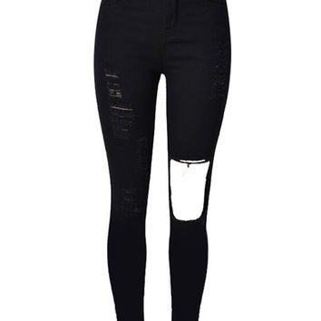 Black Ripped Cut Out Skinny Jeans