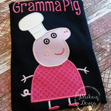 Peppa Pig Family Baker Granny Pig Birthday Custom Tee Shirt - Customizable -   Adults