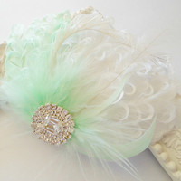 Wedding Hairpiece, Feather Fascinator, Bridal Hairpiece, Ivory, Mint Green, Cream, White, Bridal Hair Clip