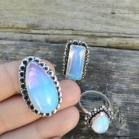Opalite Rings - Ring Set- Sterling Silver Plated - Boho Style - Bohemian - Gypsy Rings - Statement Rings - Size 7/8 - Fashion Jewelry - #626