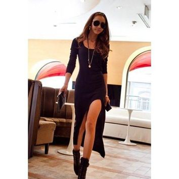 Black Long Sleeve Scoop Neck Ankle-Length Dress