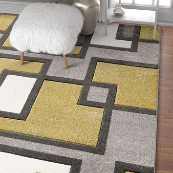 6093 Gold Geometric Carved Contemporary Area Rugs
