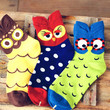 Adorable Owl Bird Print Animal Themed Cotton Socks in Red or Green for Women