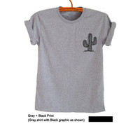 Cactus Shirt Top Tumblr T Shirt Grunge Pocket Tee Shirt Funny Geek Fashion Grey Plant Printed Women Girls Teens Mens Unisex Cool Cute Gifts