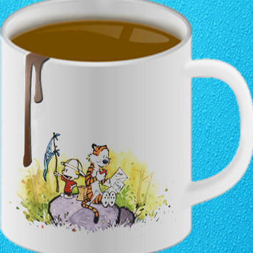 Calvin and Hobbes mug coffee, mug tea, size 8,2 x 9,5 cm heppy coffee.