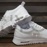 Blinged Womens Nike Air Max Thea Running Shoes White Blinged Out With Swarovski Crysta