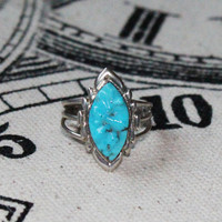 Vintage Zuni Pueblo Sterling Silver & Turquoise Ring by Wayne Quam Native American Jewelry