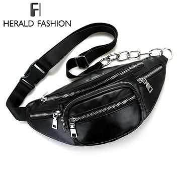 Herald Fashion Multi-function Waist Pack Bags Belt Pouch PU Leather Travel Chest bag Hip Money Phone Belt bag