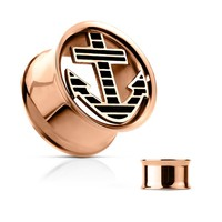 Anchor plug Rose Gold Set Front Rose Gold IP Over 316L Surgical Steel Double Flared Tunnels