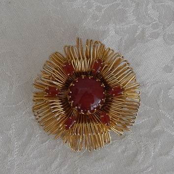 Vintage Signed Hattie Carnegie Amber Cabochon Gold Plated Metal Brooch