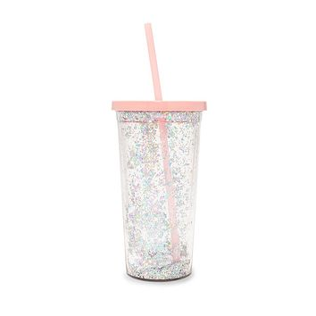 Delux Sip Sip Tumbler with Straw in Glitter Bomb ea2d270a6d58