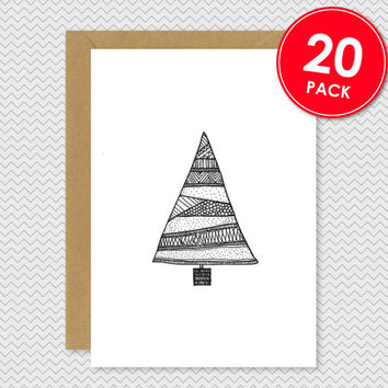 Set of 20 - Funky Christmas Tree Card -  Hand drawn illustrated patterned tree - Quirky cool pattern xmas card