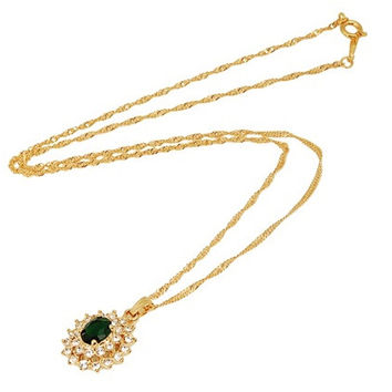 Exquisite 18K RGP Diamond Necklace (Green)
