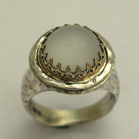 Sterling silver and yellow gold ring with a clear by artisanimpact