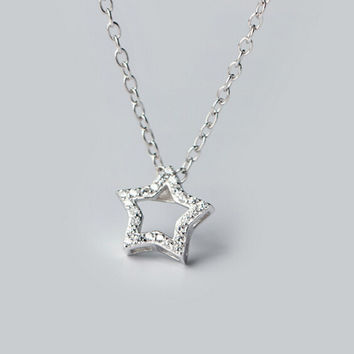 Personalized fashion five-pointed star zircon  925 sterling silver necklace,a personalized gift