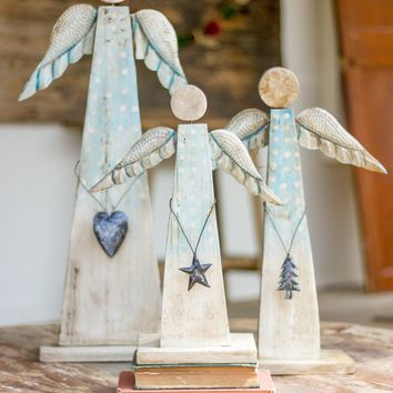 Set Of 3 Painted Recycled Wood Angels On Stand